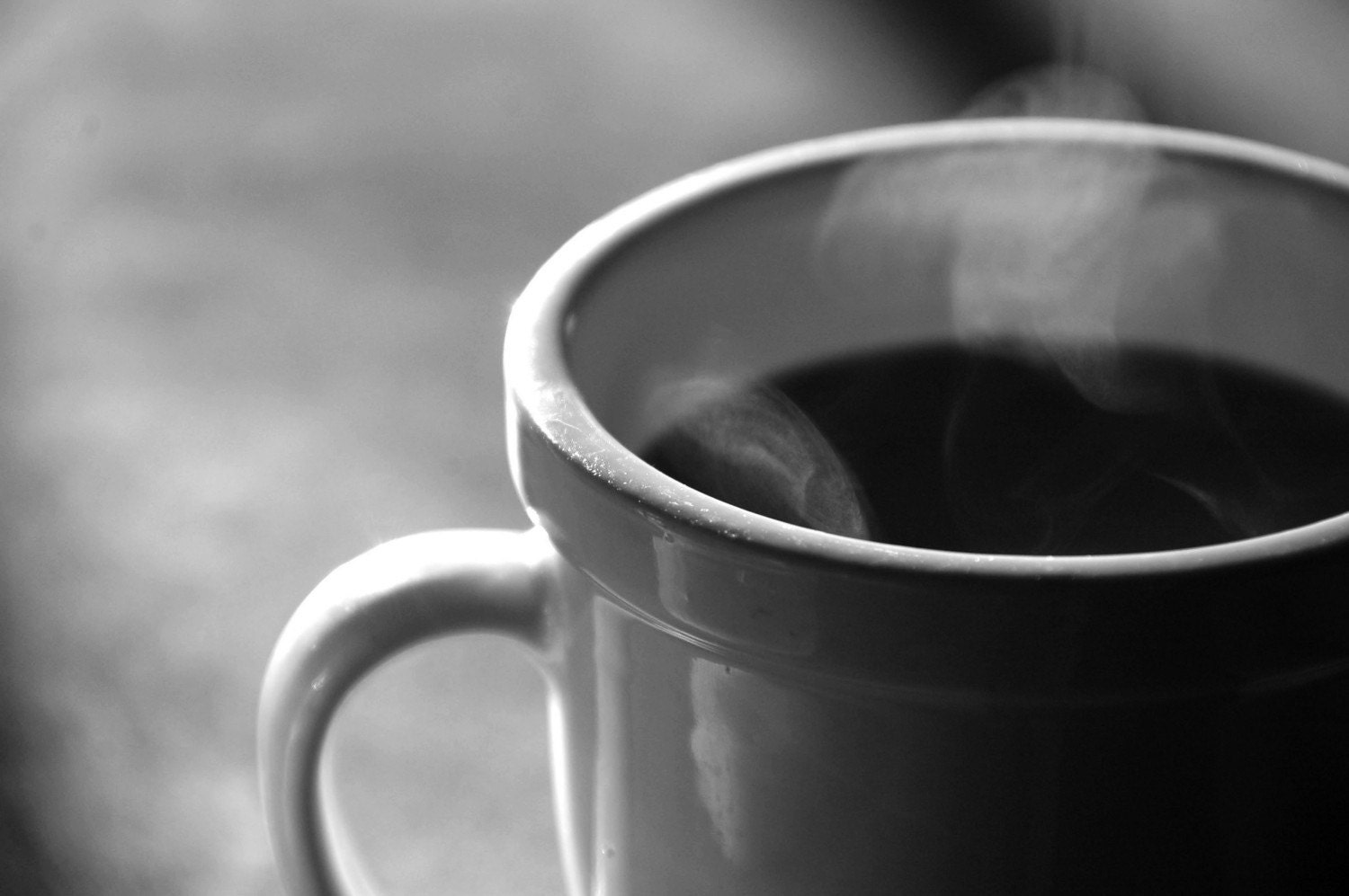 Coffee morning hot java black and white still photograph