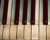 Still Life Piano Photograph, Piano Keys, Black, Ivory, Neutral Colors, Vintage Tones,Old Piano, Grunge, Urbex