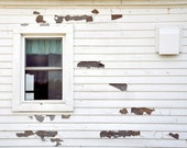 Urban Decay Photograph, Peeling Paint, White, Window, Urbex, Shabby Chic, Farmhouse, Abandoned House, Minimal, Rustic,  Fine Art Print