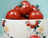 Food Photo, Tomatoes, 5x7 Print, Kitchen Art, Home Decor, Red, Blue, Bowl, Fine Art Photograph