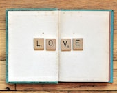 Book Photograph, Scabble Tile Photo, Still Life Photoraphy, Love, Minimal, Whimsical, Message, Fine Art Print, Quirky