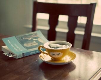 Morning Tea Photograph, Still Life, Natural Window Light, Teacup Photo, Book, Chair, Fine, Cafe Art, Home Decor, Quiet