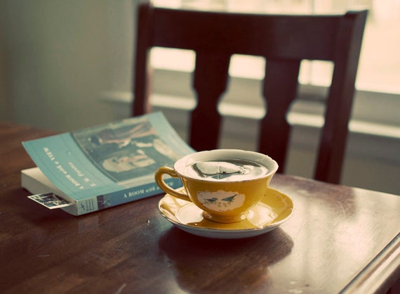 Morning Tea Photograph, Still Life, Natural Window Light, Teacup Photo, Book, Chair, Fine, Cafe Art, Home Decor, Quiet