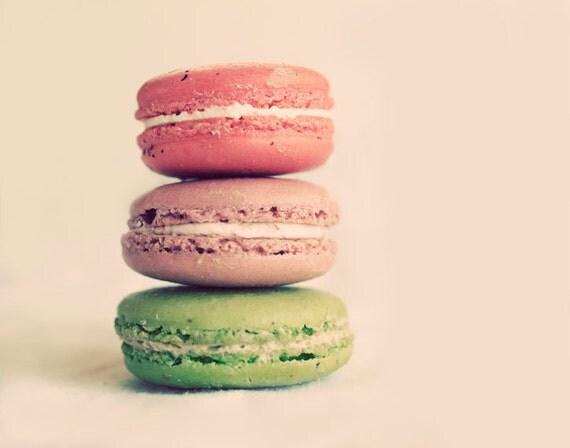 Macaron Photograph, Kitchen Art, Pink Cookies, Minimal Food Photography, Fine Art Print, Holiday Home Decor, Pastel Colors