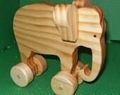 Elephant on Wheels Wooden Toy