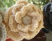 Flower Wrist Cuff with Vintage Style Button