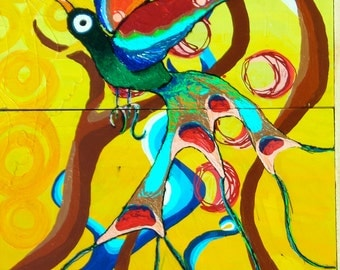 Bright Bird in the Ocean Original Painting