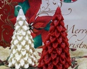 Beeswax White Holly Berry Christmas Tree Candle