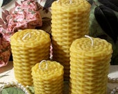 4 Beeswax Wicker Weave Style Candles