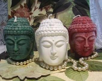 White Beeswax Buddha Head Candle