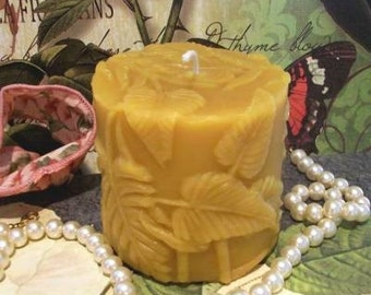 Beeswax Fern Pillar Candle