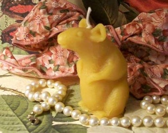 2 Beeswax Rat Mouse Candles