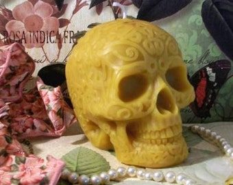 Beeswax Skull Candle Celtic Style Large Size