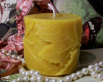 Beeswax Raised Leaf Covered Pillar Candle Small Choice Of Color