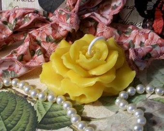 2 Beeswax Rose Candles Yellow Rose Of Texas