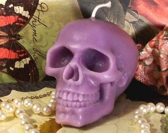 Beeswax Purple Skull Candle