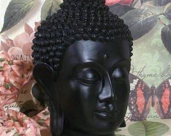 """Beeswax Black Buddha Head Yoga Zen Candle 6  1/2"""" Tall"""