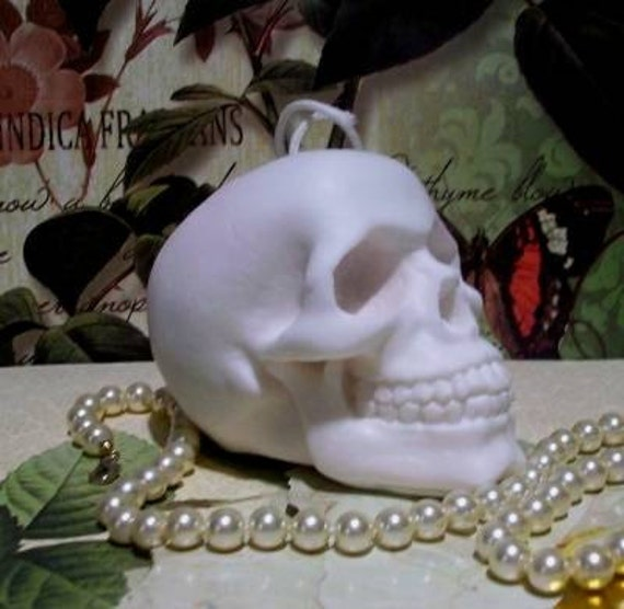 White Beeswax Skull Candle