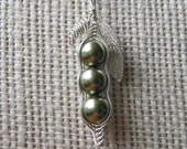 Green Peas in a Pod - Delicate Sterling Silver and Swarovski Pearl Necklace