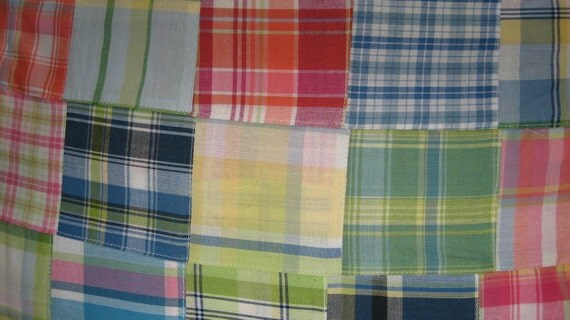Preppy Pink Green Patchwork Madras Plaid Fabric 1yard- 44 inches wide 100% cotton