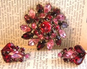 Pink and Red Rhinestone Pin\/Earring Set