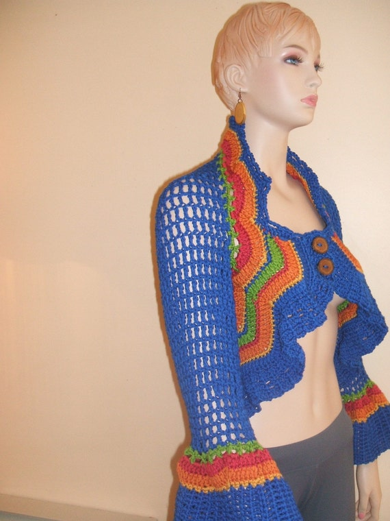 Hand Crocheted Bolero Shrug with zigzag of wonderful colours with homemade wooden buttons