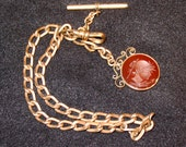 Treasury Featured PRICE REDUCED Victorian Gold Filled Watch Chain, Fob, Dob Clip and T Bar