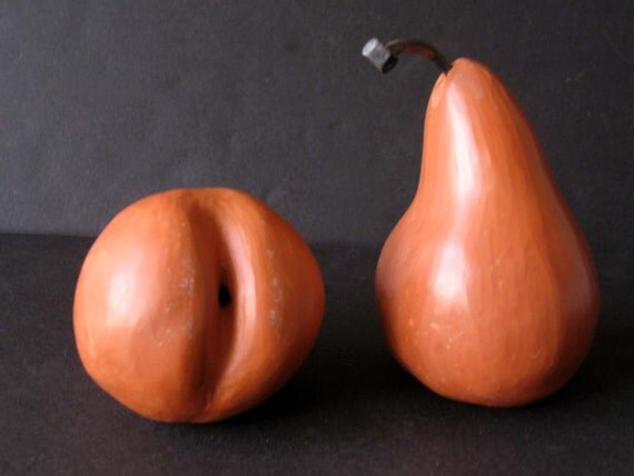 RESERVED FOR SANDY  Set of Vintage Handmade Clay Pears Set Two