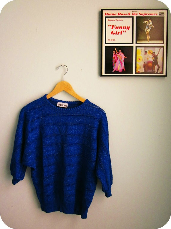 pointelle sweater in SPARKLY 80s blue batwing size medium