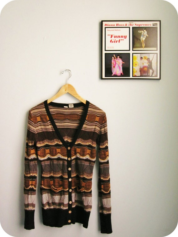knit cardigan sweater 70s JACQUARD size xs