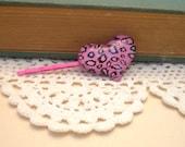 Wild Thing Cheetah Print Heart Shape Snap Clip