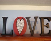 Wooden Letters Love for Valentine's Day Home Decor