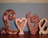 Love Wood Letters for Whimsical Valentine Decor - ready to ship - by thepatternbag