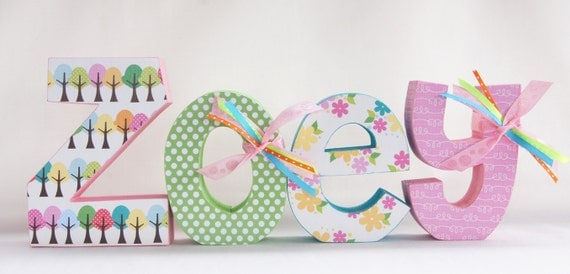 wooden nursery letters wood letters childrens decor baby girl wooden letters pottery