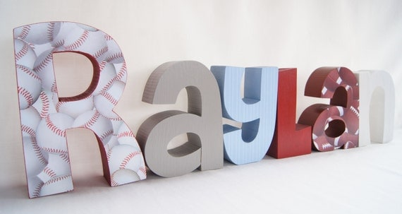 items similar to sports themed baby boy nursery letters on etsy. Black Bedroom Furniture Sets. Home Design Ideas