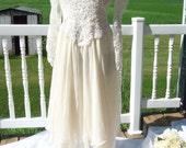 Wedding Dress,Tea Length Ivory and white Long sleeve, beaded bodice, Boho, hankie hem, french country, hopelessly romantic