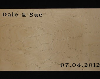 """21-24 pc Wedding Puzzle Guestbook - Can CUSTOMIZE 9"""" X 15"""" HAND CUT Wooden Jigsaw"""