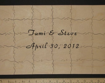 """29-34 pc Wedding Guest Book Puzzle HAND CUT 10"""" X 17"""" Can Be PERSONALIZED - Guest Book Alternative"""