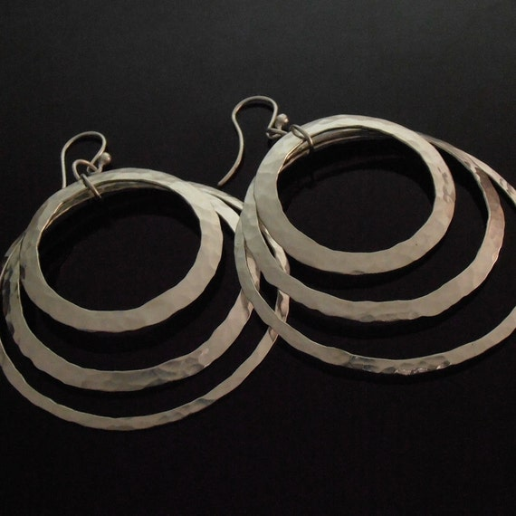 SALE - Hammered Sterling Silver Ring Earrings