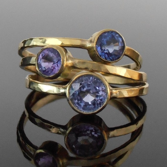 Sapphire and 18K Gold Stack Ring Set