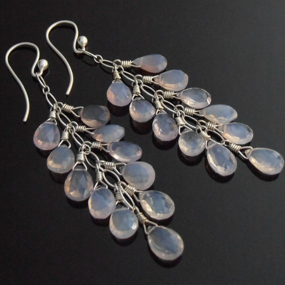 Violet Scapolite and Sterling Silver Earrings