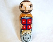 St Luke the Evangelist Catholic Saint Doll - Wooden Toy - Made to Order
