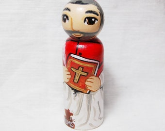 Saint Robert Bellarmine Catholic Saint Doll - Wooden Toy - Made to Order