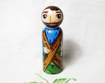 St Andrew the Apostle Toy - Catholic Wooden Saint Doll - Made to Order