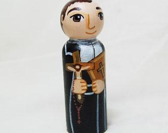 Saint Louis Marie de Montfort Catholic Saint Doll - Wooden Toy - Made to Order