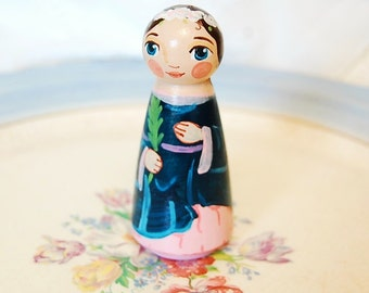 Saint Agatha Catholic Saint Doll - Wooden Toy - Made to Order