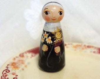 Saint Juliana Falconieri Catholic Saint Toy - Wooden Doll - Made to Order