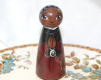 Saint Josephine Bakhita Catholic Saint Doll - Wooden Toy - Made to Order