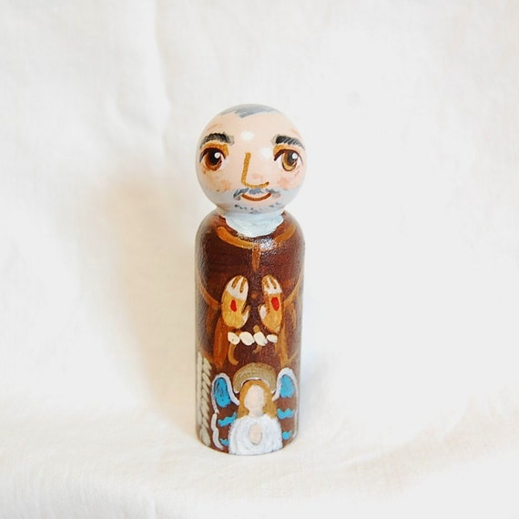 St Padre Pio of Pietrelcina Catholic Saint Doll - Wooden Toy - Made to Order