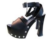 RESERVED For Naomi (billyjeanart) Vintage Platforms Shoes Black Leather Studded Platform Sandals Womens US Size 10